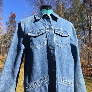 Vintage BILL BLASS 90s Denim Barn Coat Jean Jacket